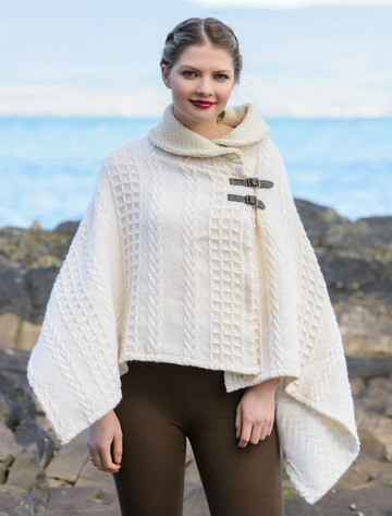 Shawl Collar Poncho with Leather Buckle Detail - White