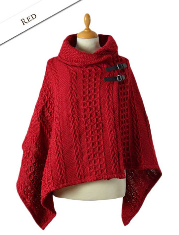 Shawl Collar Poncho with Leather Buckle Detail - Red