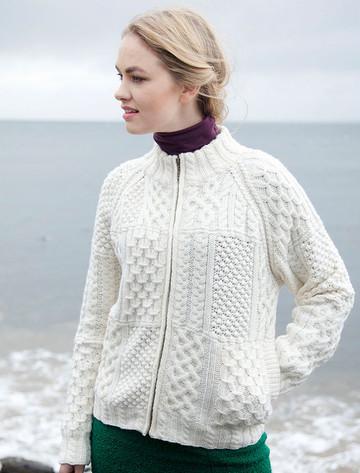 Women's Handknit Cropped Patchwork Cardigan - Winter White