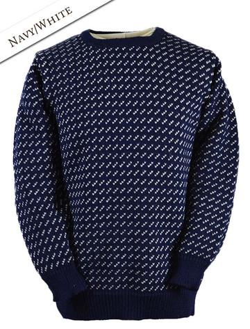 Pattern Detail of Norwegian Sweater for Women - Navy/White