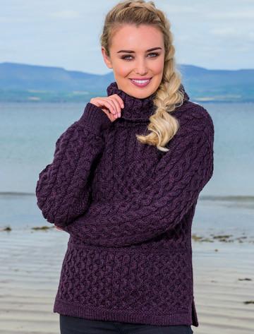Ladies Super Soft Patch Cowl Sweater - Plum
