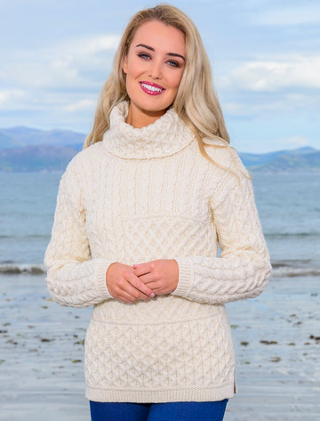 Ladies Super Soft Patch Cowl Sweater - Natural White