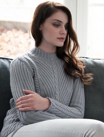 Merino Funnel Neck Ribbed Sweater - Dove Grey
