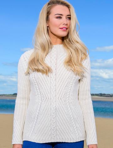 Merino Funnel Neck Ribbed Sweater - Natural White
