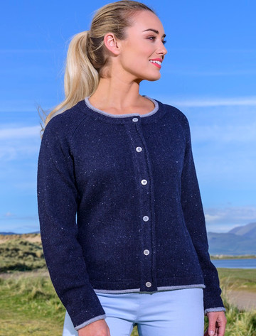 Wool Cashmere Button Down Cardigan - Navy