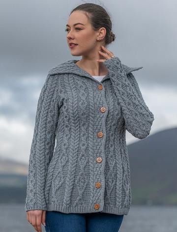 Super Soft Luxury Button-Up Flared Aran Cardigan - Ocean Grey