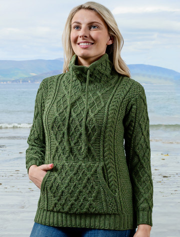 Ladies Drawstring Super Soft Sweater With Pouch Pocket - Meadow Green