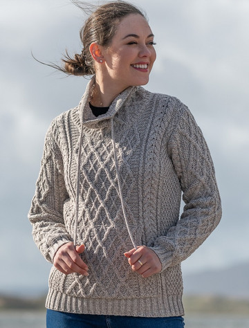 Ladies Drawstring Super Soft Sweater With Pouch Pocket - Toasted Oat