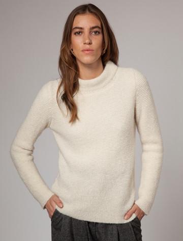 Links Stitch Mock Neck Sweater - Ecru