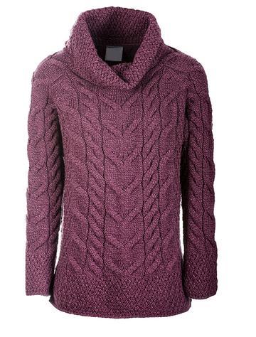 Luxury Chunky Cable Cowl Neck Aran Sweater - Jam