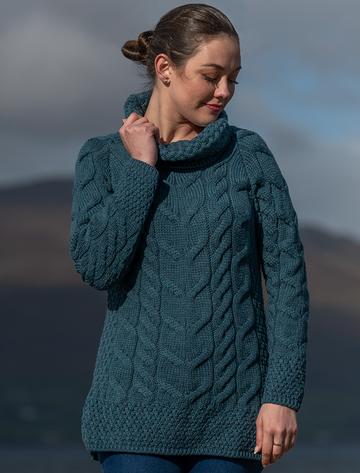 Luxury Chunky Cable Cowl Neck Aran Sweater - Irish Sea
