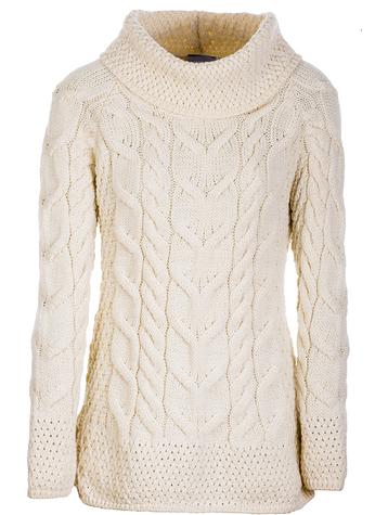 Luxury Chunky Cable Cowl Neck Aran Sweater - Classic Aran