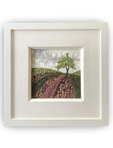 Framed Original Tweed Embroidery - Bracken Hill - Small