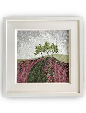 Framed Original Tweed Embroidery - Bracken Hill