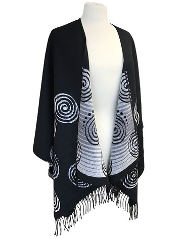 Fringed Celtic Spiral Shawl - Black & White