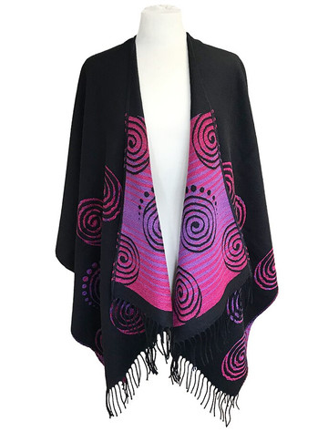 Fringed Celtic Spiral Shawl - Black & Fuchsia