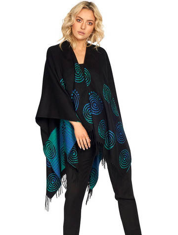 Fringed Celtic Spiral Shawl - Black & Turquoise