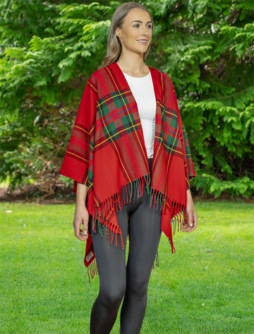 Irish Fringed Shawl - Red Plaid