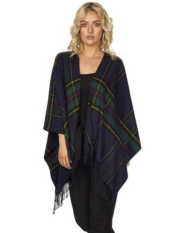 Irish Fringed Shawl - Green & Navy Plaid