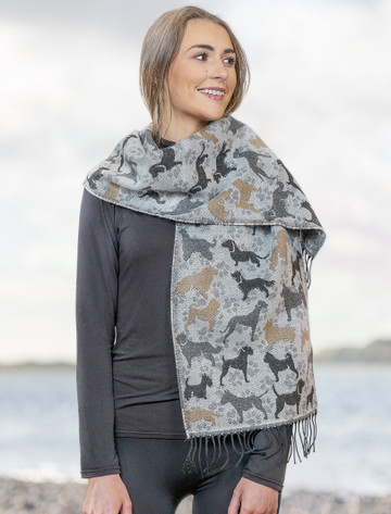 Super Soft Fringed Scarf - Dog Motif