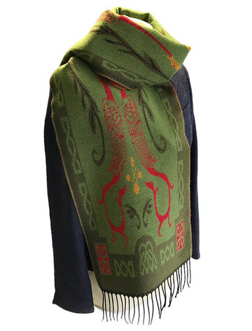 Book Of Kells Celtic Scarf - Lime Green