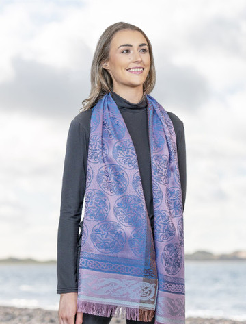 Extra Soft Celtic Motif Scarf - Purple