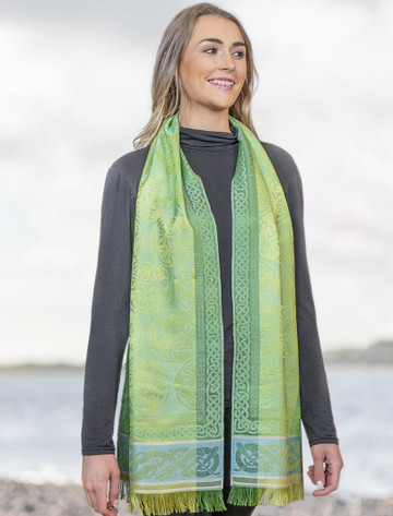 Extra Soft Celtic Motif Scarf - Lime Green