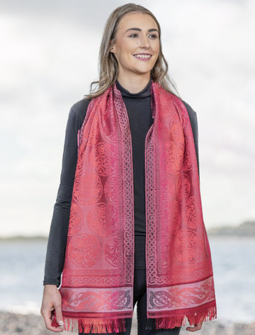 Extra Soft Celtic Motif Scarf - Berry