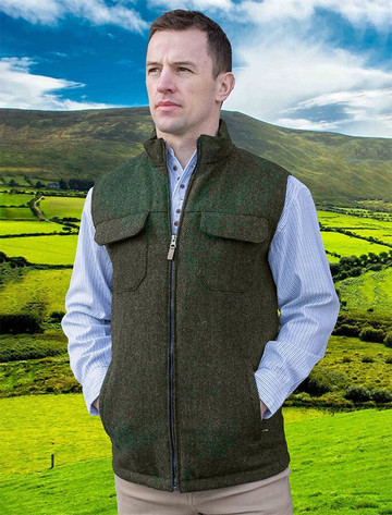 Brian Irish Wool Tweed Bodywarmer - Olive