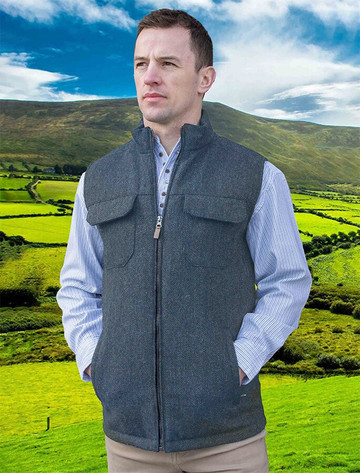 Brian Irish Wool Tweed Bodywarmer - Charcoal