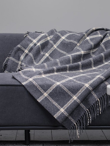 Wool and Cashmere Throw - Grey & Bone Windowpane