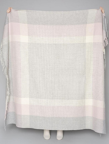 Wool and Cashmere Throw - Dusty Pink & White