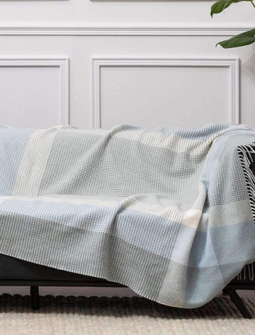 Wool and Cashmere Throw - Sage, Blue & White