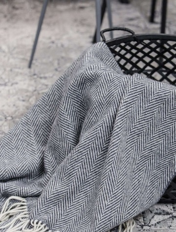 Wool and Cashmere Throw - Grey & White Herringbone