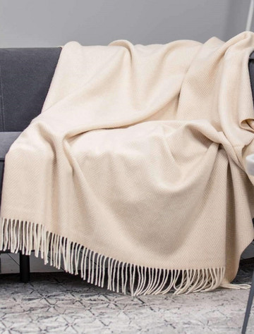 Wool and Cashmere Throw -Bone Herringbone