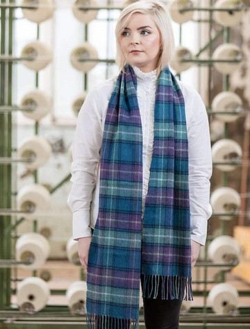 Extra Fine Merino Scarf - Blue, Sage & Purple Plaid