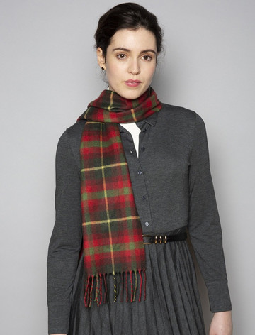 Extra Fine Merino Scarf - Red & Green Plaid