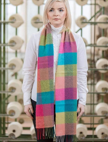 Extra Fine Merino Scarf -  Pink, Jade & Lime