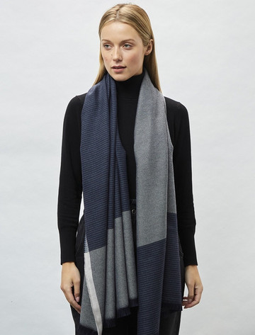 Cashmere Wool Stole - Bone & Navy