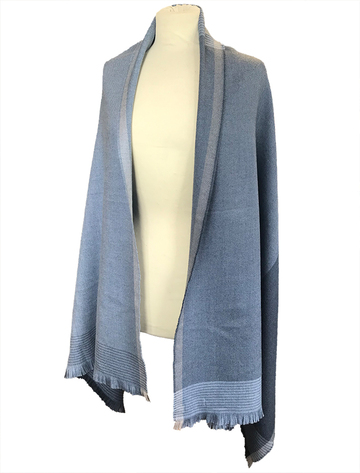 Cashmere Wool Stole - Blue, Mink & Grey