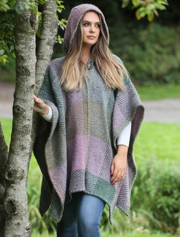 Sarah Hooded One Button Cape - Multi-Loden