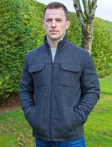 Skellig Wool Tweed Walking Jacket - Charcoal