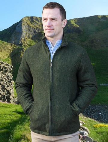 Donegal Wool Tweed Walking Jacket - Olive