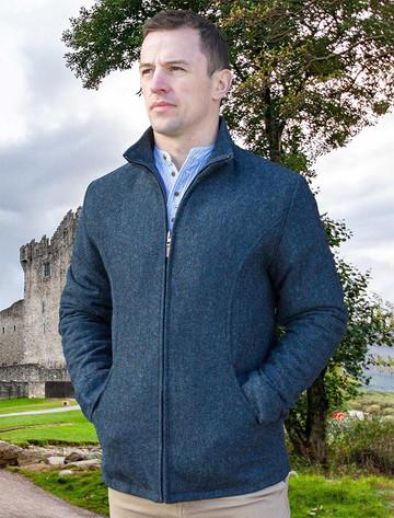 Donegal Wool Tweed Walking Jacket - Blue