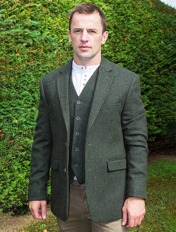 Irish Wool Tweed Classic Fit Jacket - Olive