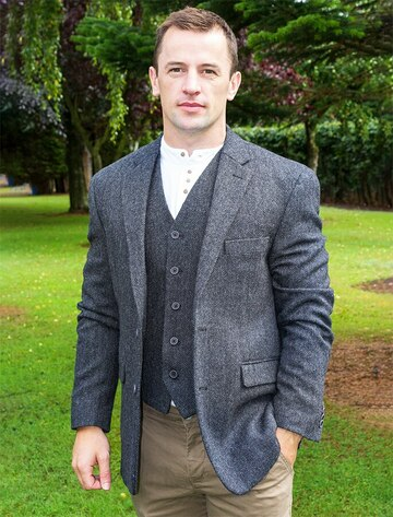 Irish Wool Tweed Classic Fit Jacket - Grey