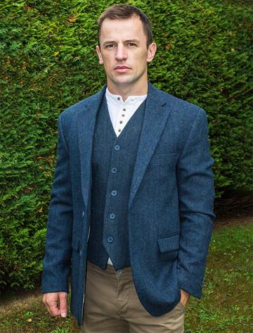 Irish Wool Tweed Classic Fit Jacket - Navy