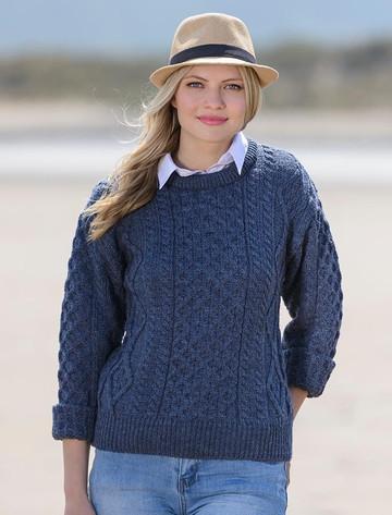 Cable Knit Crew Neck Aran Wool Sweater - Caspian