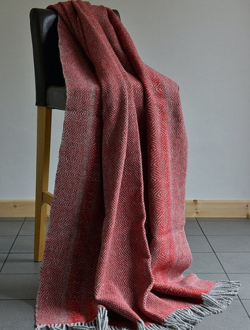 Donegal Tweed Large Undulating Twill Throw - Poppy