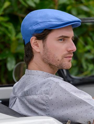 Irish Linen Flat Cap - Light Blue